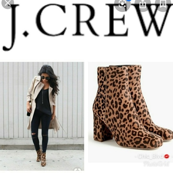 J crew leopard calf hair leather booties